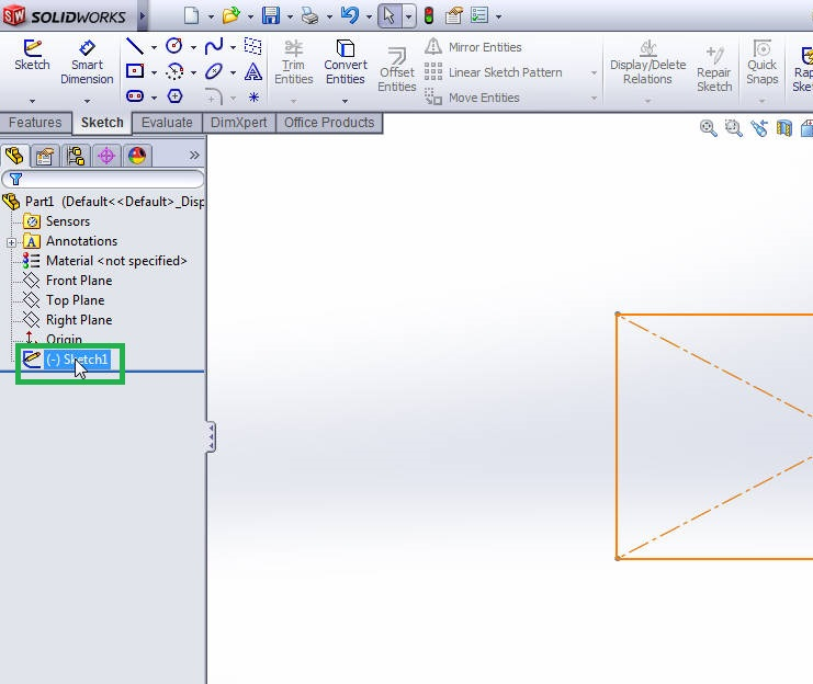 solidworks 2012 extrude boss tutorial-select the sketch-1 drawing-step-3