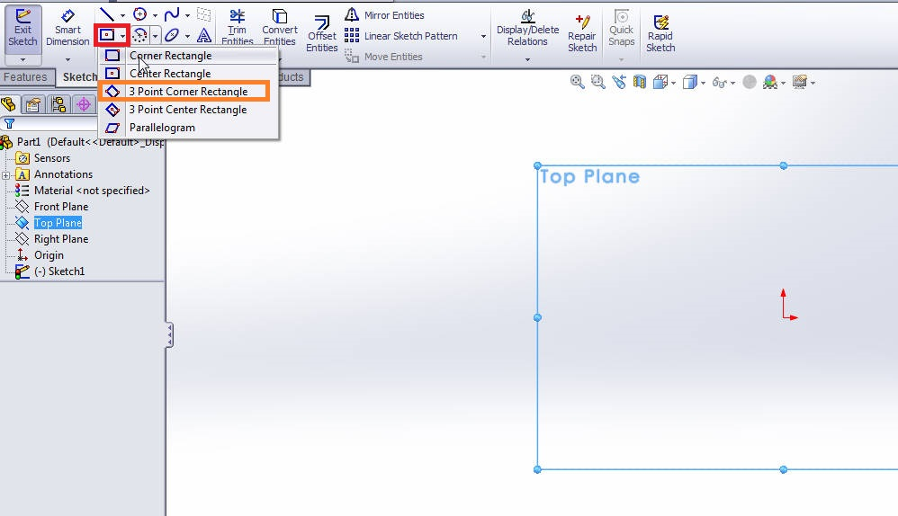 solidworks-3-point-corner-rectangle-selection-step-2