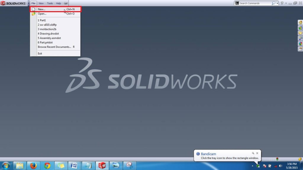 solidworks-basic-tutorial-new-part-file-using-menubar