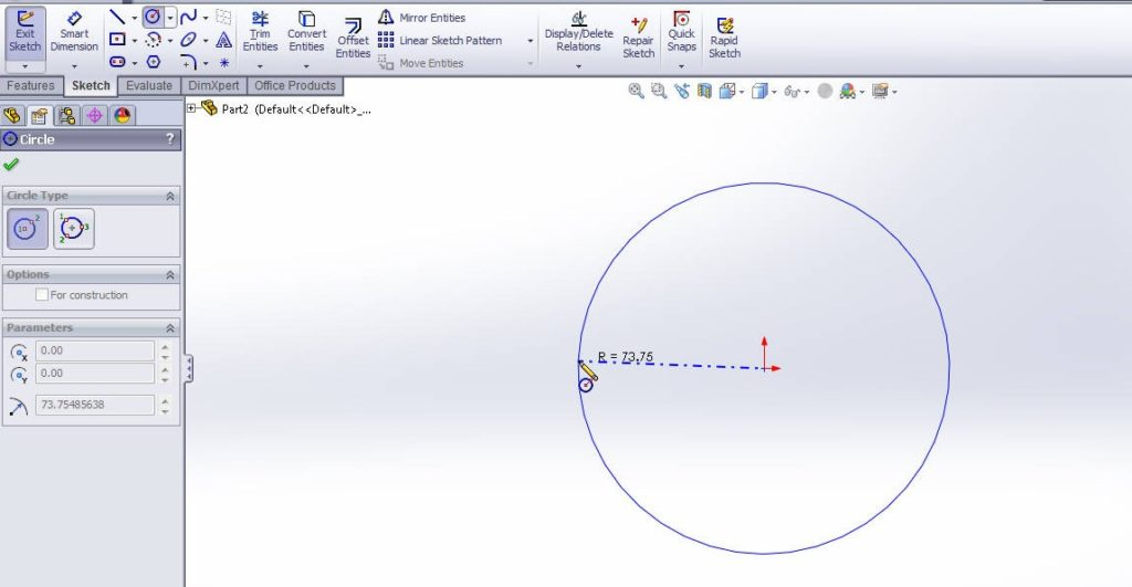 solidworks boundary boss or base tutorial_draw circle sketch profile on top plane
