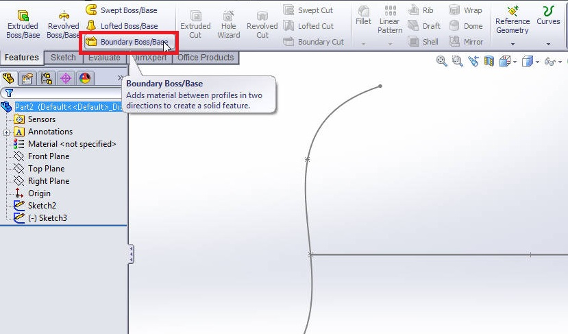 solidworks boundary boss or base tutorial_select boundary boss or base feature tool from features command manager