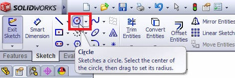 solidworks boundary boss or base tutorial_select circle sketch tool