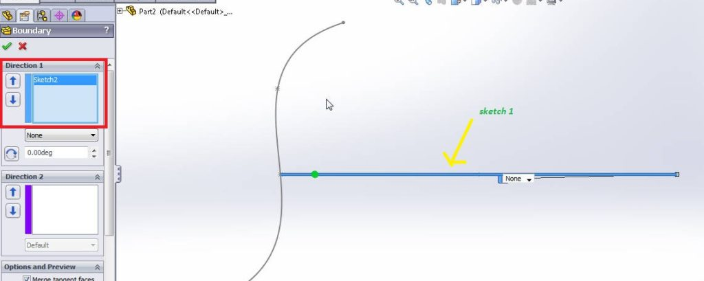 solidworks boundary boss or base tutorial_set direction 1 by selecting sketch 1