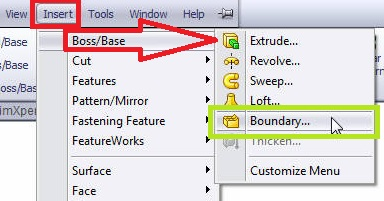 solidworks boundary boss or base tutorials_ select boundary boss or base from solidworks menubar