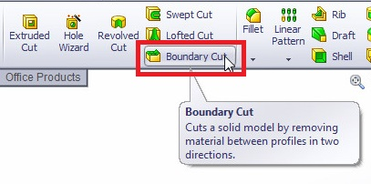 solidworks boundary cut tutorial select boundary cut from the solidworks features commanad manager