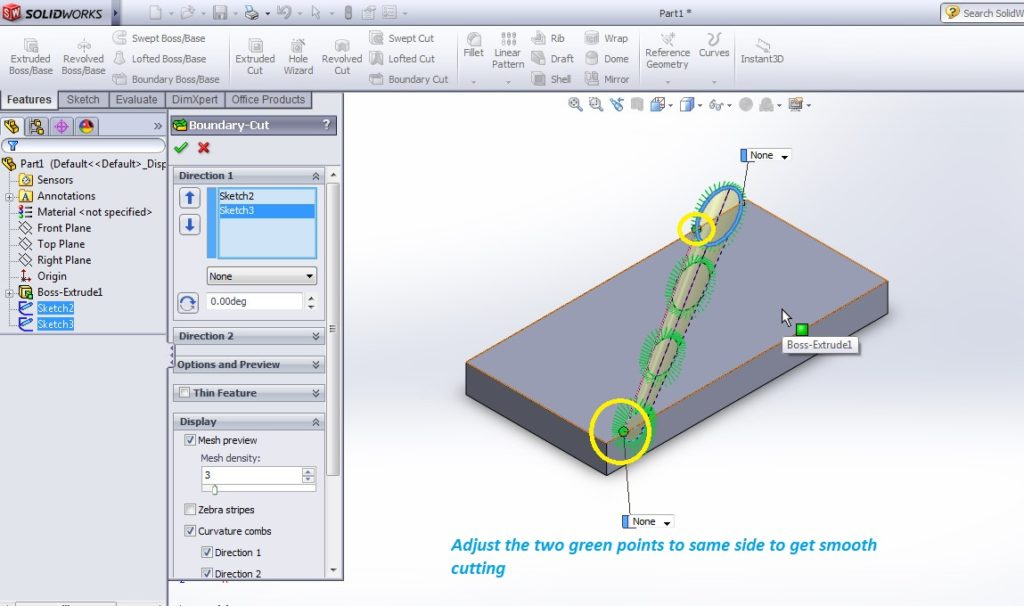 solidworks boundary cut tutorial_adjust the two green points to get smooth boundary cutting