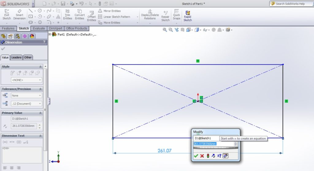 solidworks boundary cut tutorial_apply smart dimesion tool to set diemsion as 500 length and 50 thickness