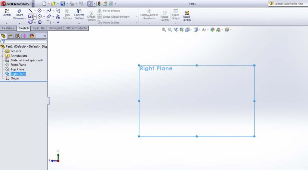 solidworks boundary cut tutorial_create deafult right plane