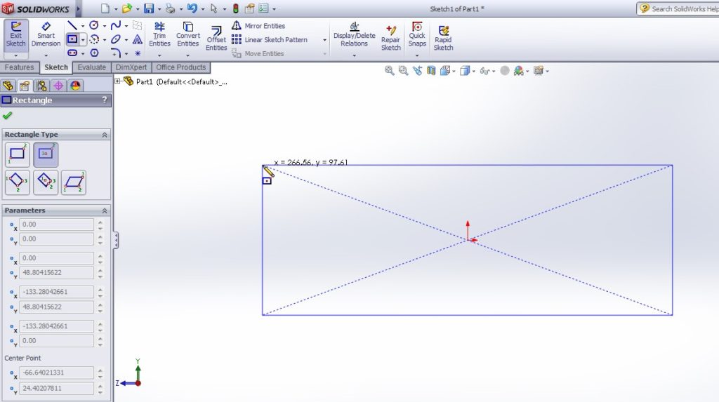 solidworks boundary cut tutorial_create recatngular profile on right plane sketch