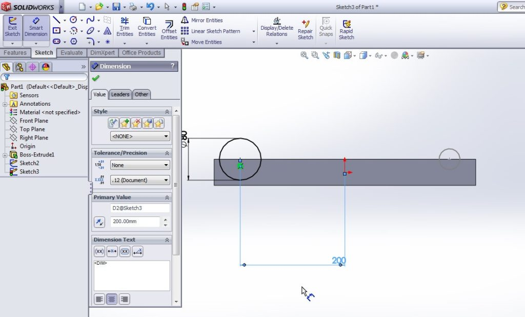 solidworks boundary cut tutorial_create second circle sketch on the opposite face and side