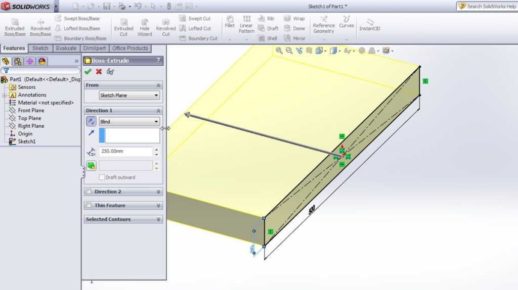 solidworks boundary cut tutorial_extrude boss or base application to create 3d rectangular plate