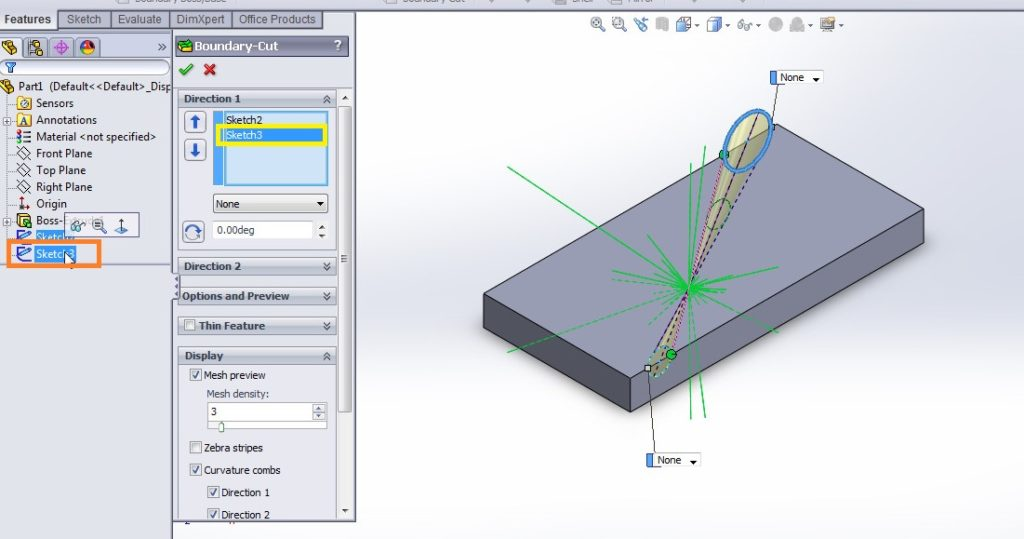 solidworks boundary cut tutorial_remove material from two icrcle sketch profile preview
