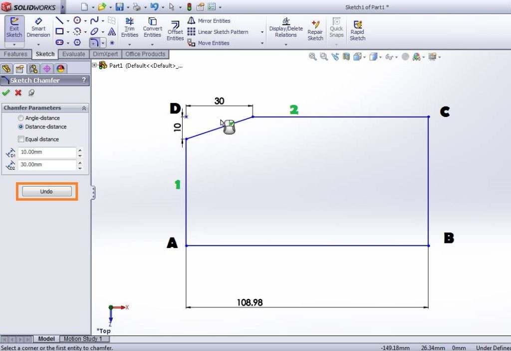 solidworks chamfer sketch tool tutorials-distance-distance chamfer complete-step-4 image-2