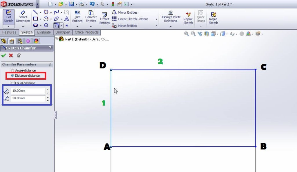 solidworks chamfer sketch tool tutorials-distance-distance chamfer-step-4 image-1