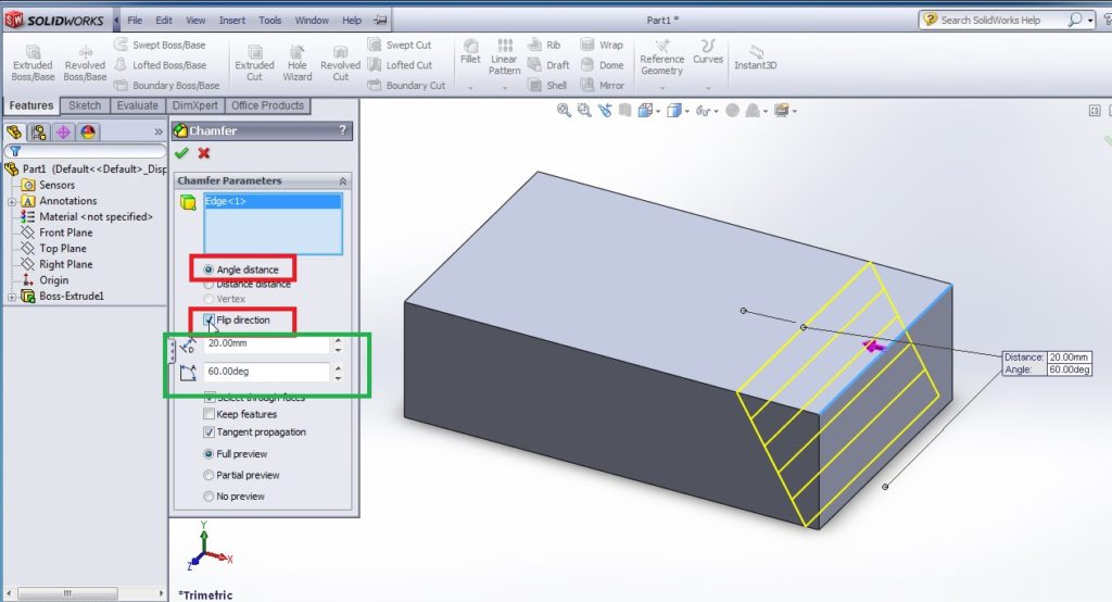 solidworks chamfer tool tutorials chamfered edges or faces angle distance chamfering tools angle distnace setting flip direction