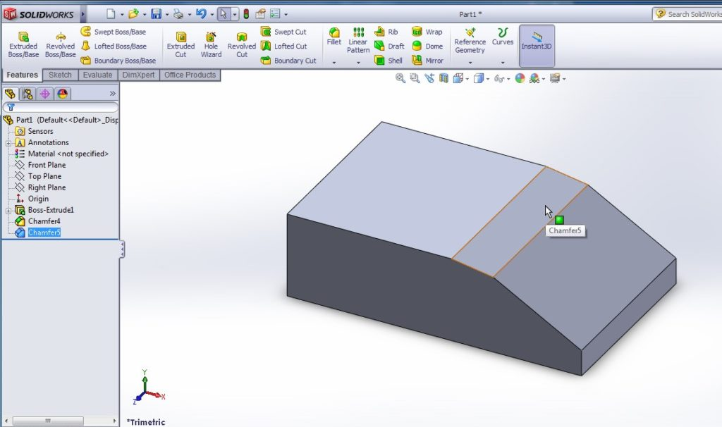 solidworks chamfer tool tutorials chamfered edges or faces distnace distance chamfering tools final image
