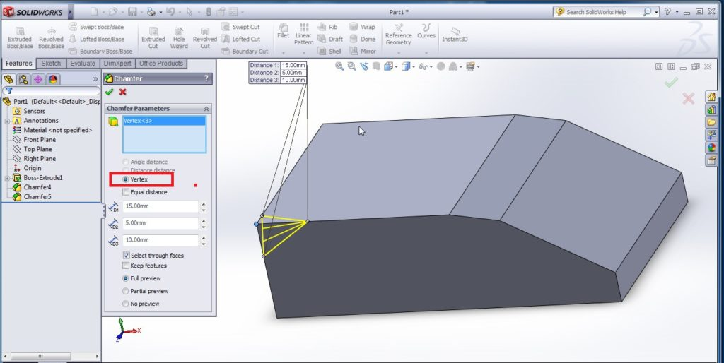 solidworks chamfer tool tutorials vertex or chamfered corner distance 1 distnace 2 distance 3 dimension settting