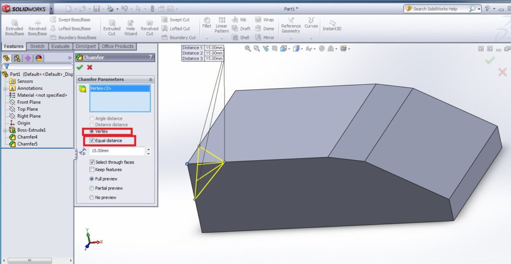 solidworks chamfer tool tutorials vertex or chamfered corner equal distance dimension settting