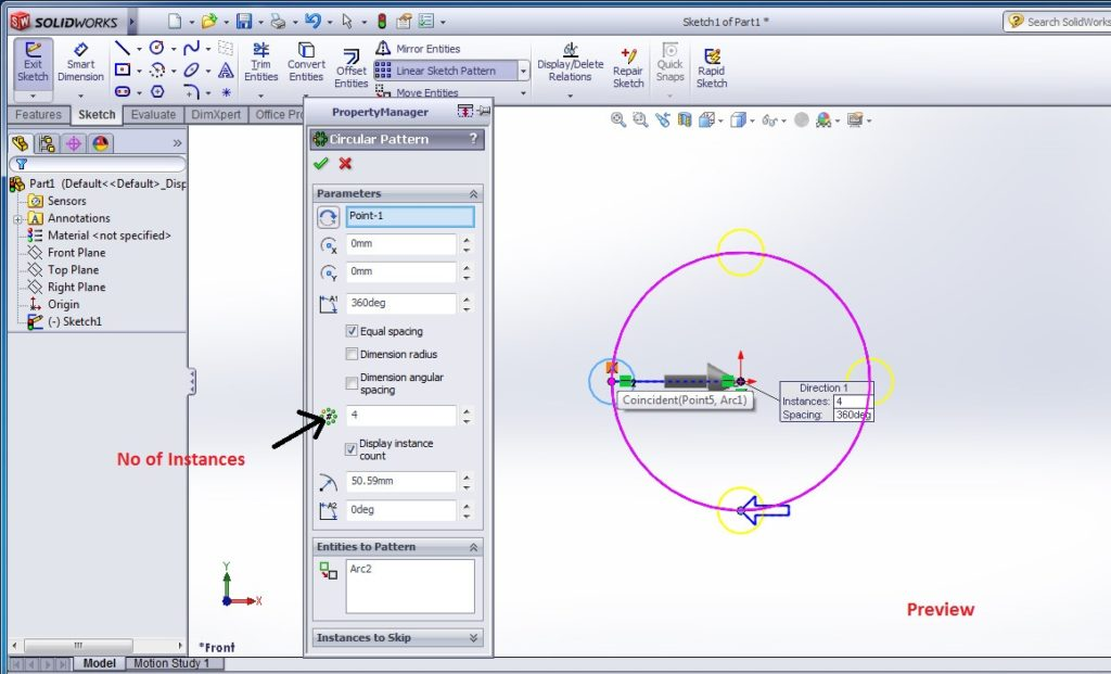 solidworks circular sketch pattern tutorials - edit the apttern property manager - screenshot-5