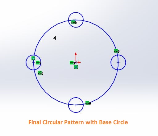 solidworks circular sketch pattern tutorials - pattern compeletd with base circle - screenshot-5