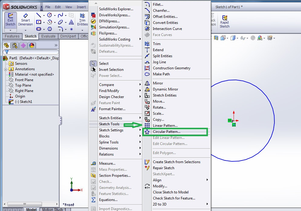 solidworks circular sketch pattern tutorials - select the circular sketch pattern tools from the solidworks menubar - screenshot-4