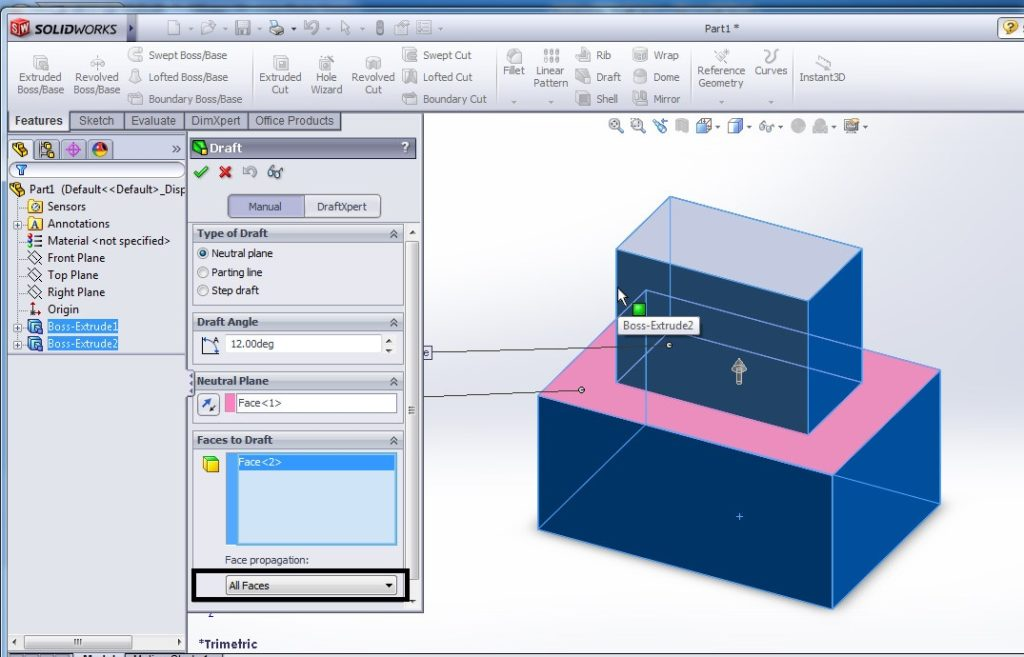 solidworks draft tutorial select face propagation to all faces