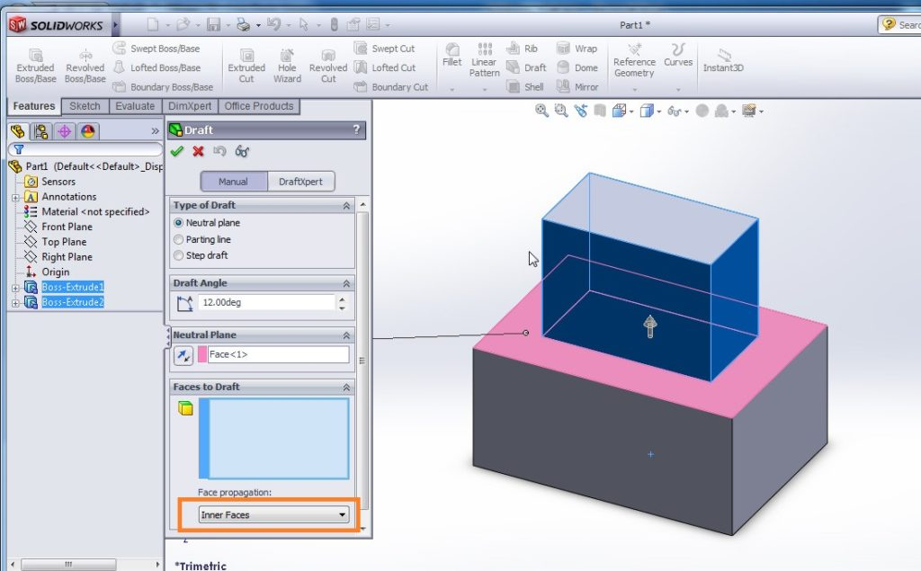solidworks draft tutorial select face propagation to inner faces