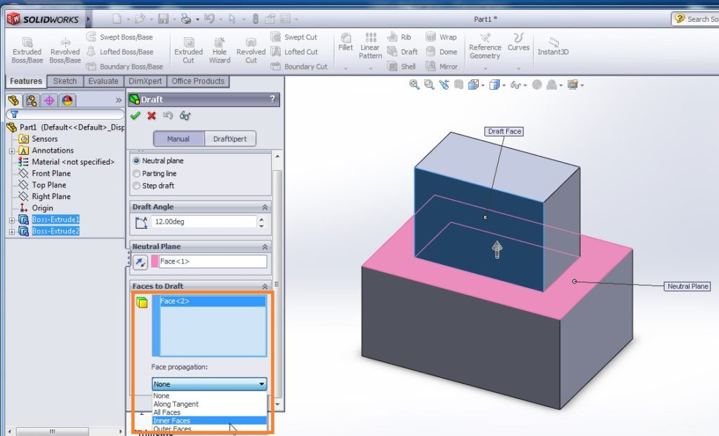 solidworks draft tutorial select faces to draft with face propagation selected as none