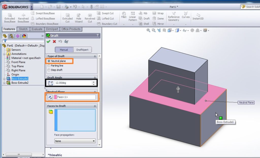 solidworks draft tutorial select neutral plane and set draft angle