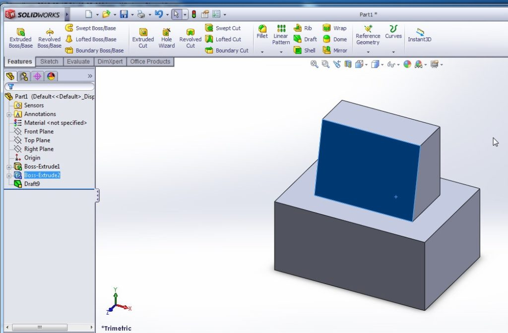 solidworks draft tutorial tapered face final image