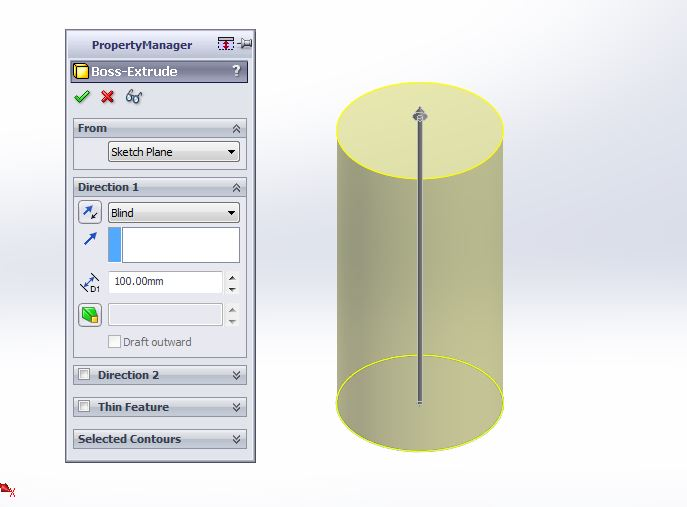 solidworks exercises-how to create 3d cylider step for apply extrude boss