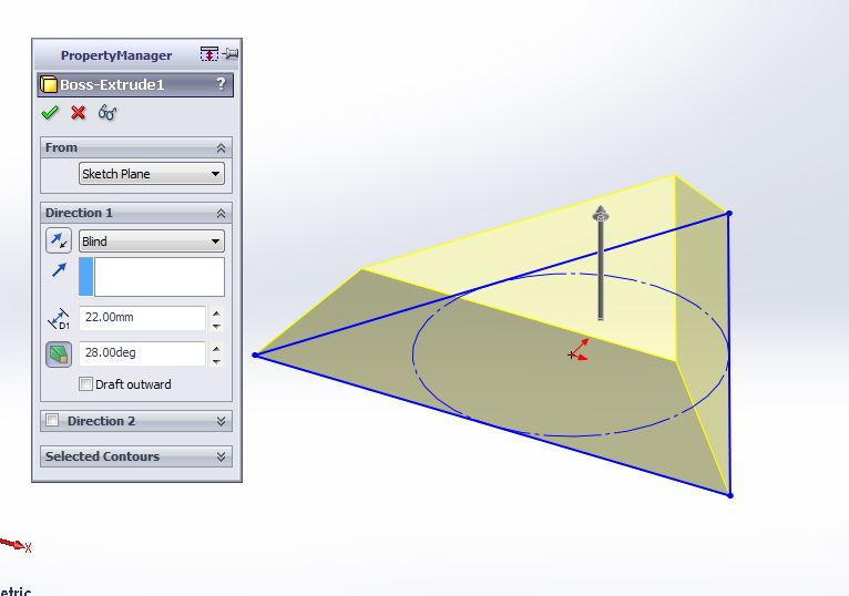 solidworks exercises-how to create 3d triangular block draft anagle application