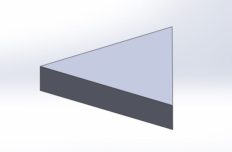 solidworks exercises-how to create 3d triangular block final image