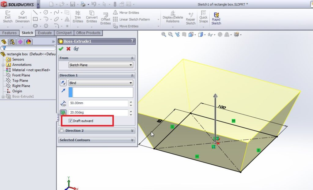 solidworks extrude boss tutorial boss property manager applications_drat dierction outward 5