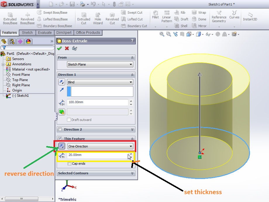 solidworks extrude boss tutorial boss property manager applications_how to use thin feature one direction thickness addition selected 3