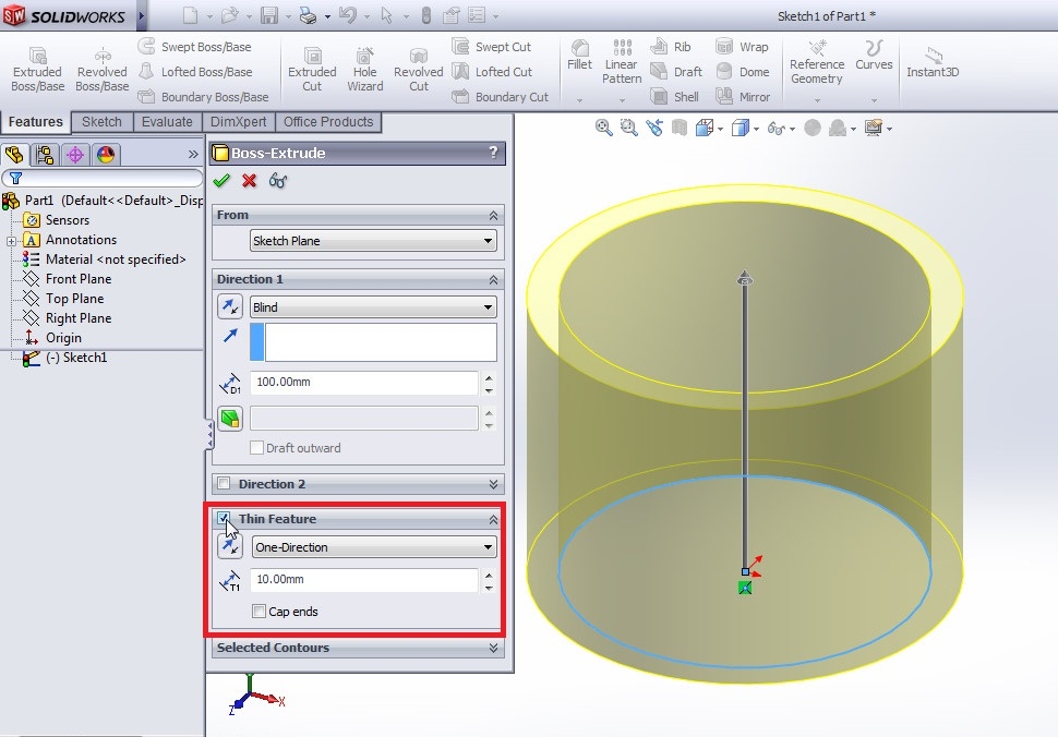 solidworks extrude boss tutorial boss property manager applications_how to use thin feature thin feature enabled 2