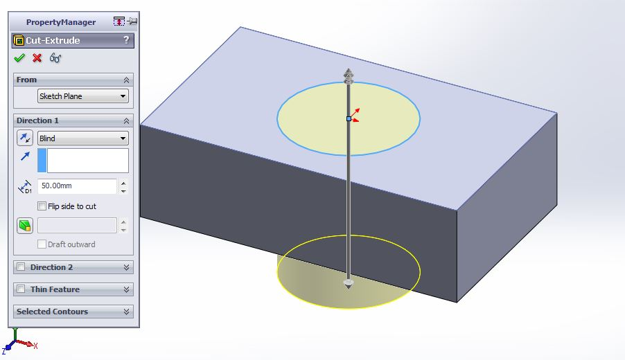 solidworks extrude cut feature tutorial circular hole extrude cut preview step-4