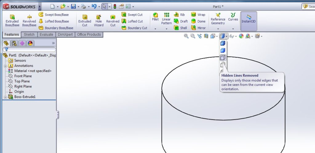 solidworks heads-up view toolbar - display style example window