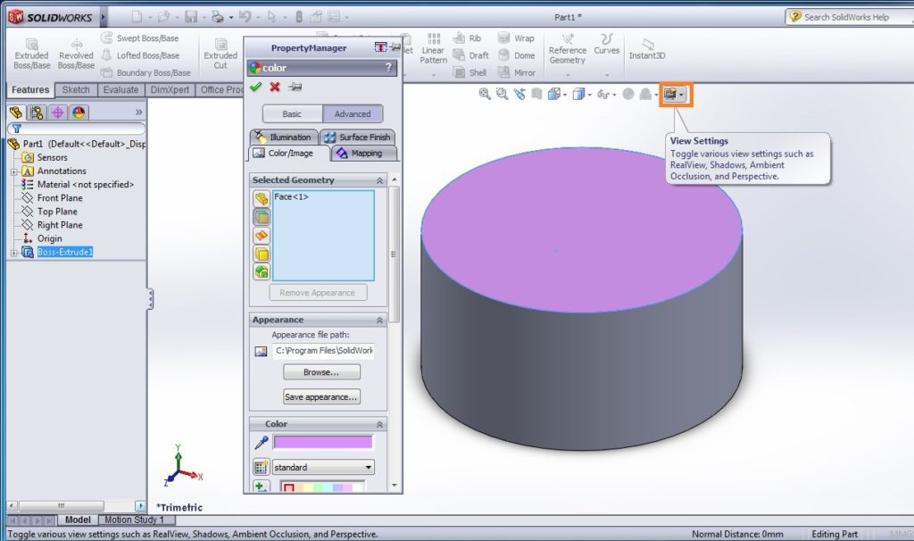 solidworks heads-up view toolbar - edit appearence property manager
