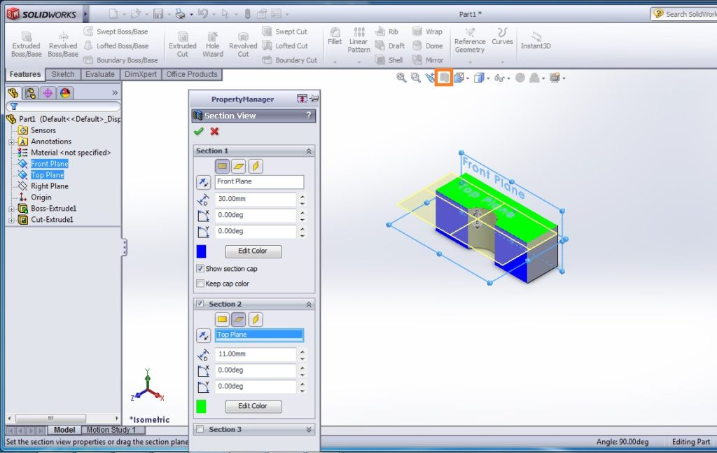 solidworks heads-up view toolbar - section view example window