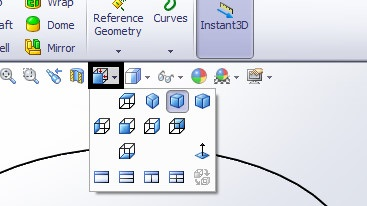 solidworks heads-up view toolbar - view orientations tools window