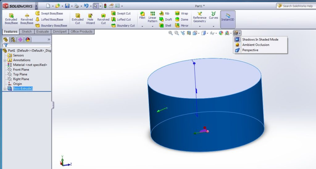 solidworks heads-up view toolbar - view settings
