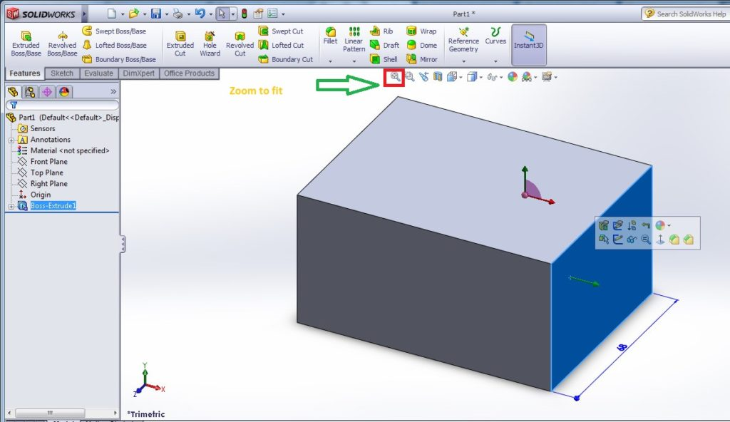 solidworks heads up view toolbar - zoom to fit example window