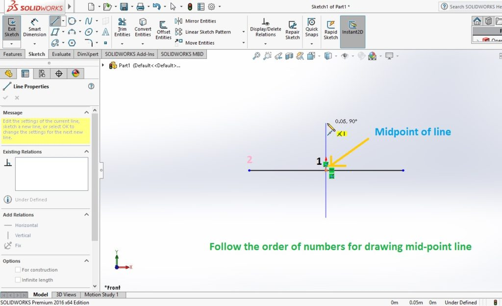 solidworks line sketch tool draw midpoint line sketch in graphics area of cad software