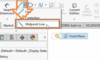 solidworks line sketch tool mid point line tool selection from feature command manager