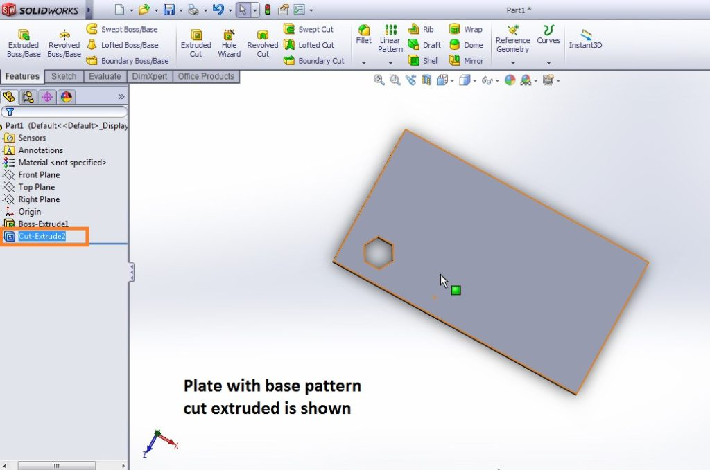 solidworks linear pattern tool base pattern hexagon is cut extruded before applying patterning