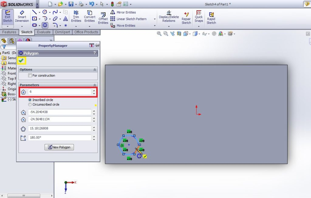 solidworks linear pattern tool draw base pattern shape hexagon on rectangular plate
