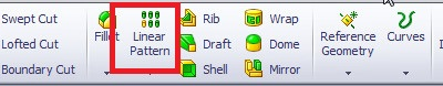 solidworks linear pattern tool select linear feature tool from features command manager