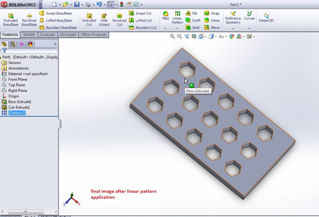 solidworks linear pattern tool tutorial rectangle plat with hexagon linear pattern final image