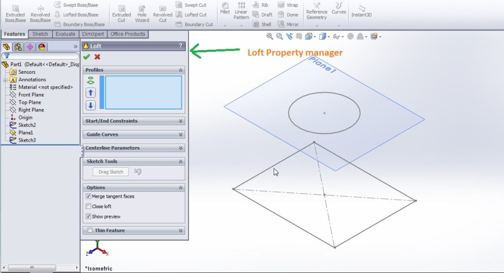 solidworks loft boss base tutorials see loft property manager step 4-1